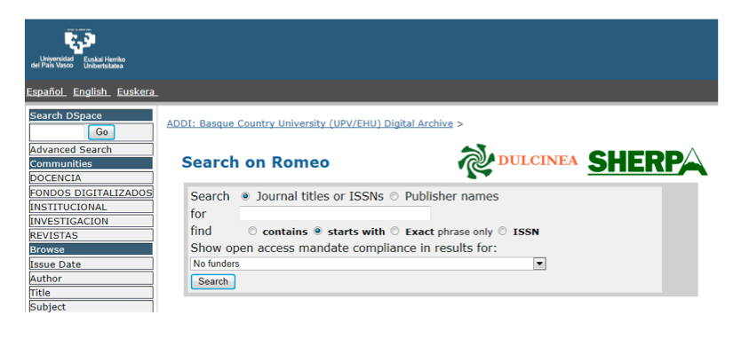 Screenshot of RoMeo Web page